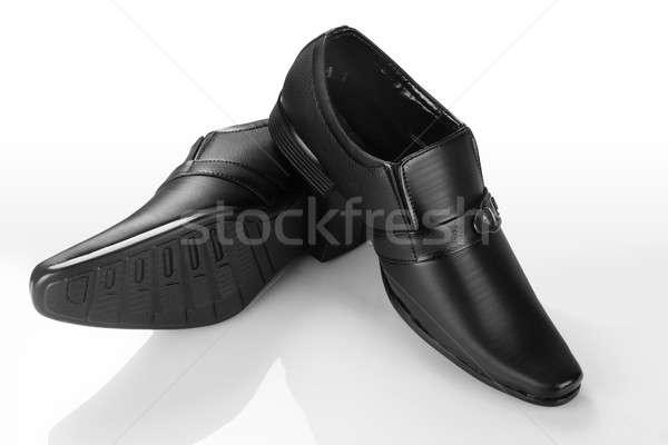 Formalny czarny skóry buty biały Zdjęcia stock © Akhilesh