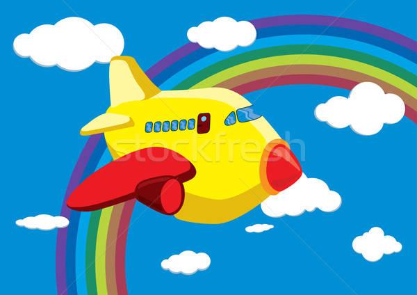 Cartoon Airplane in the Rainbow Sky - Vector Illustration Stock photo © Akhilesh