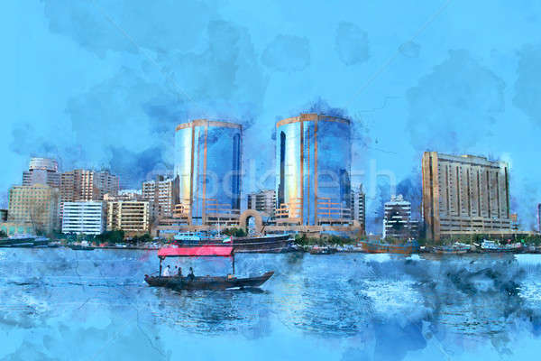 Dubai Creek Building Painting Water Color - Stock Photo Stock photo © Akhilesh