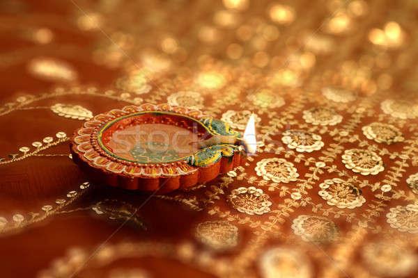 Indian Diwali Diya with Festive Lights Bokeh Stock photo © Akhilesh