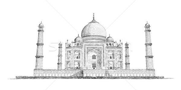 Kézzel rajzolt részletes Taj Mahal vektor rajz illusztráció Stock fotó © Akhilesh