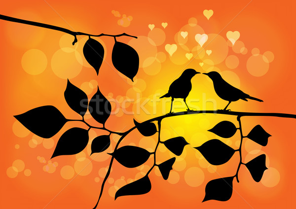 Love Birds on a Tree with Sunset in background - Vector Illustra Stock photo © Akhilesh