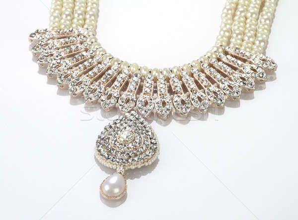 Modern Intricate Indian Jewellery Diamond Necklace on White Back Stock photo © Akhilesh