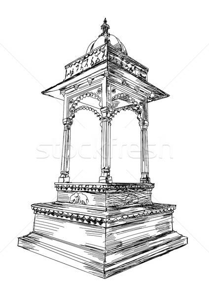 Traditional Rajasthan Architecture Building Arch Vector Illustra Stock photo © Akhilesh