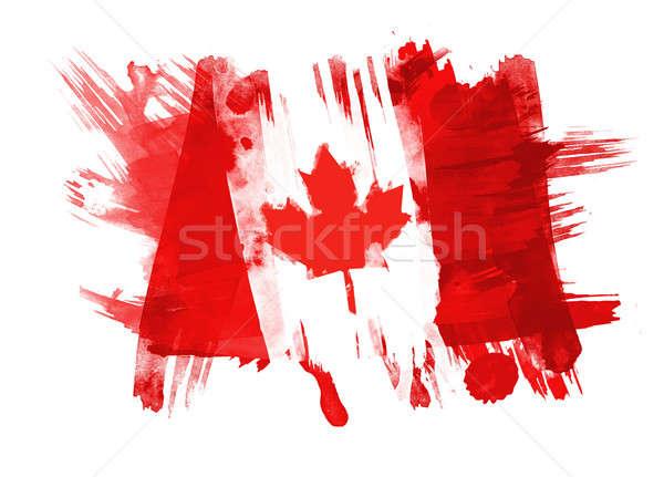 Kanada zászló festett fehér textúra kék Stock fotó © Akhilesh
