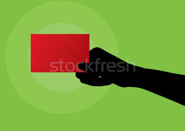 手 赤 ブランクカード ビジネス フレーム ストックフォト © Akhilesh