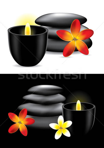 Spa hot stones, flower and candle - vector ilustration Stock photo © Akhilesh