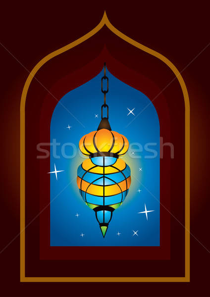 Intricate arabic lamp with moon crescent Stock photo © Akhilesh
