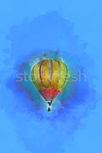 Digital Painting - Flying Hot Air Balloon in Blue Sky Stock photo © Akhilesh