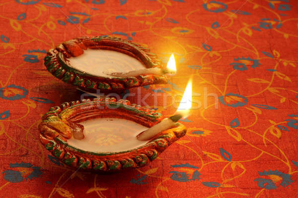 Two Beautiful Lit Diya - Diwali Celebrations Stock photo © Akhilesh