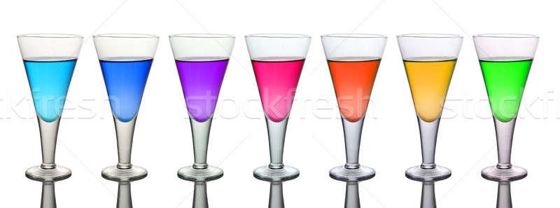 Sept différent verres à vin isolé blanche Photo stock © Akhilesh