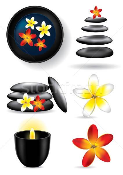 Spa elements - candle, flower, stones - vector illustration Stock photo © Akhilesh
