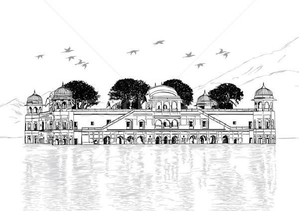 Pałac wody Indie wektora podróży ptaków Zdjęcia stock © Akhilesh