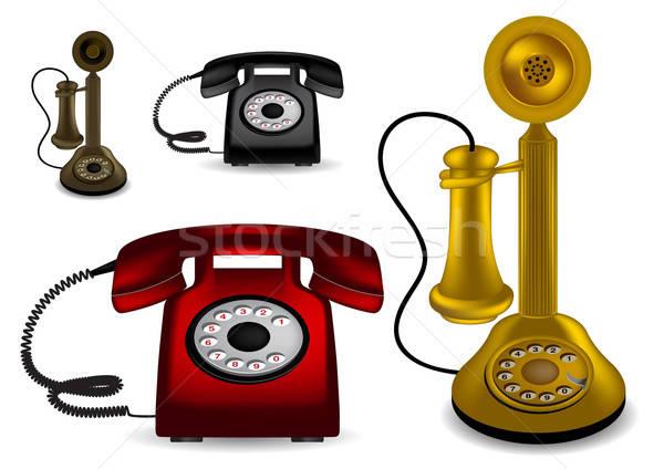 Retro telefono diverso colori telefono comunicazione Foto d'archivio © Akhilesh