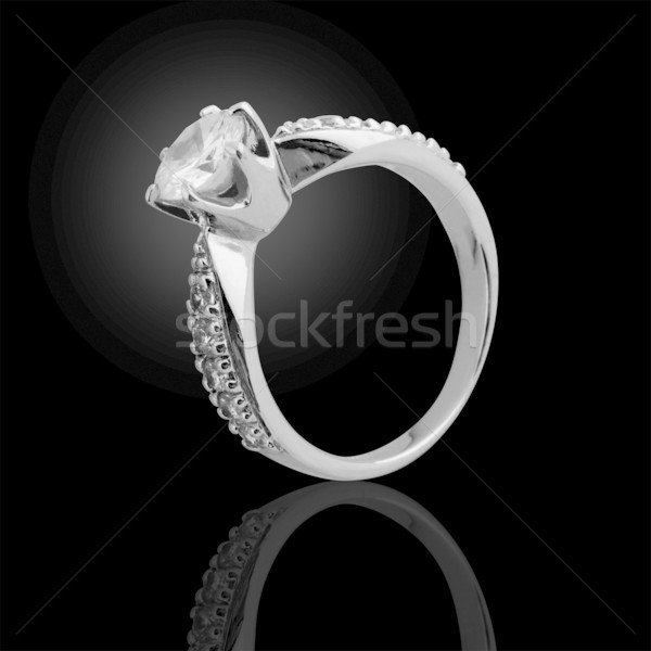 Diamanten ring zwarte mode steen geschenk ring Stockfoto © Akhilesh