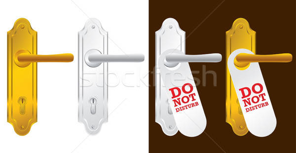 Door handle in gold and silver - vector illustration Stock photo © Akhilesh