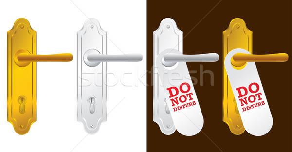 Kapı işlemek altın gümüş güvenlik kilitlemek Stok fotoğraf © Akhilesh