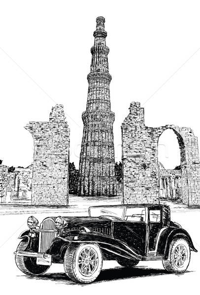Qutub Minar and Vintage Car Vector Illustration - New Delhi, Ind Stock photo © Akhilesh