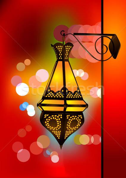 Intricate arabic lamp with beautiful lights Stock photo © Akhilesh