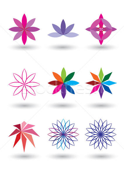 set of 9 lotus flower vector illustration Stock photo © Akhilesh