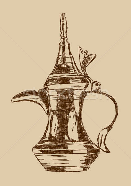 старые стиль рисованной арабский кофе банка Сток-фото © Akhilesh