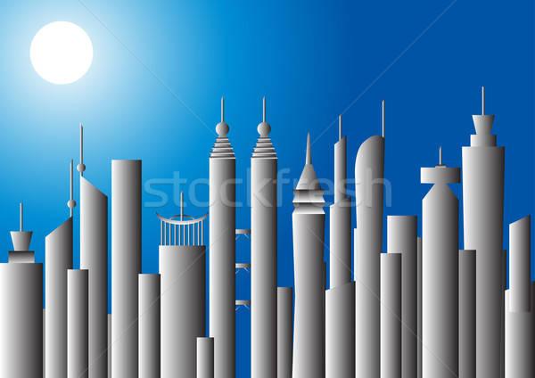 Moonlit cityscape, vector illustration Stock photo © Akhilesh