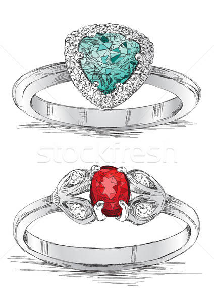 Diamond Ring Jewelry Sketch Vector Illustration Stock photo © Akhilesh