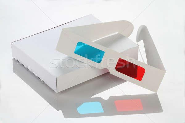 Biały papieru karty polu okulary 3d okulary Zdjęcia stock © Akhilesh