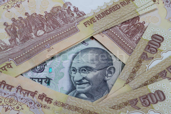 Rupee 100 Note in between demonetized 500 INR Notes Stock photo © Akhilesh