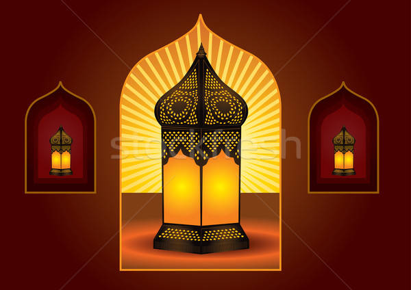 Colorful intricate arabic lantern for eid or ramadan celebration Stock photo © Akhilesh