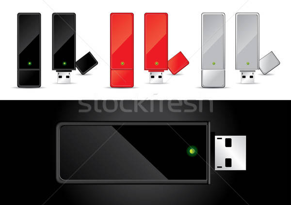 USB Disk in Black, Red and Silver - Vector Illustration Stock photo © Akhilesh