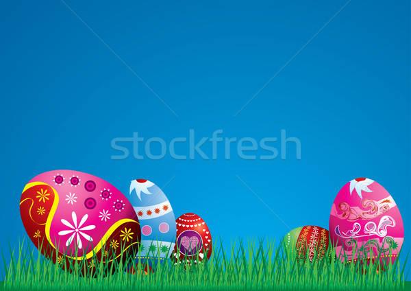 Colorato easter eggs illustrazione Pasqua uovo rosso Foto d'archivio © Akhilesh