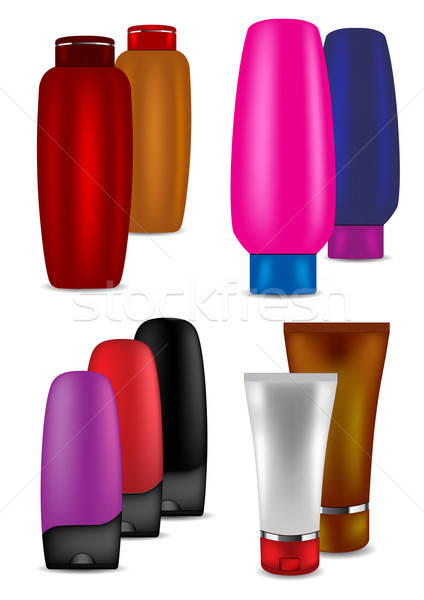 Sampon kondicionáló krém piros szín konténer Stock fotó © Akhilesh