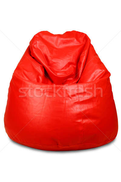 Vermelho saco de feijão isolado branco couro Foto stock © Akhilesh