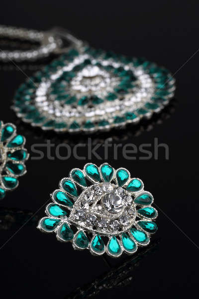 Intricate Diamond Earrings Closeup Stock photo © Akhilesh