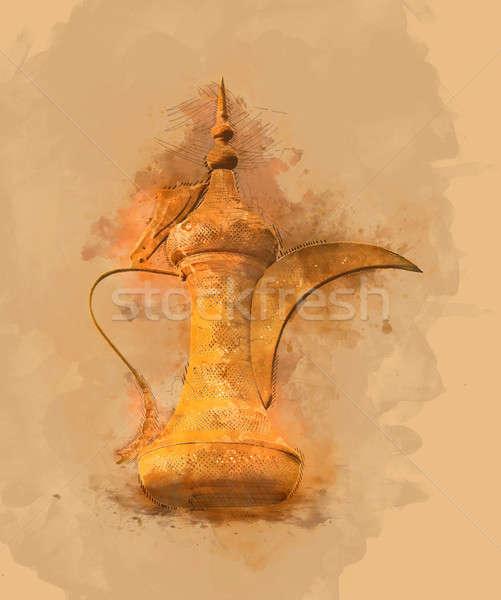 絵画 伝統的な アラビア語 コーヒー ポット 金 ストックフォト © Akhilesh