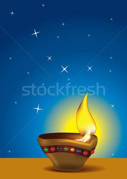 ストックフォト: ディワリ · 青空 · 石油ランプ · 火災 · 光 · 星