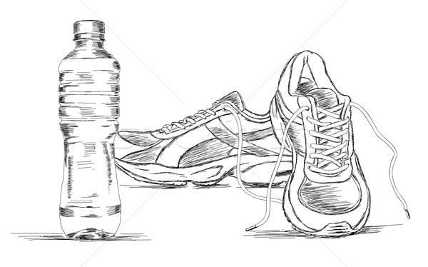 фляга кроссовки обуви вектора эскиз иллюстрация Сток-фото © Akhilesh