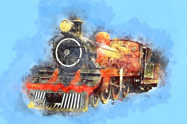 Retro Stream Locomotive Train Railway Engine Painting Stock photo © Akhilesh