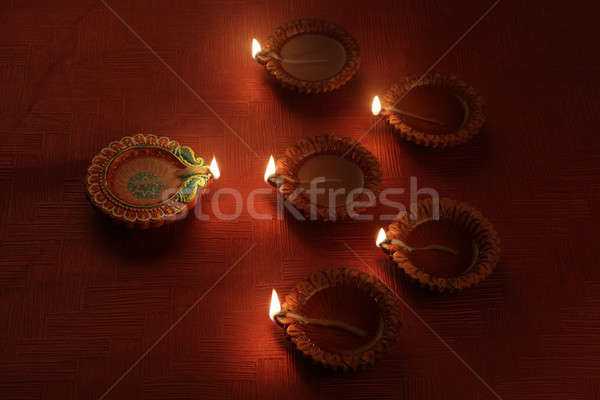 Beautiful Indian Diwali Festival Diya Light Decoration Stock photo © Akhilesh