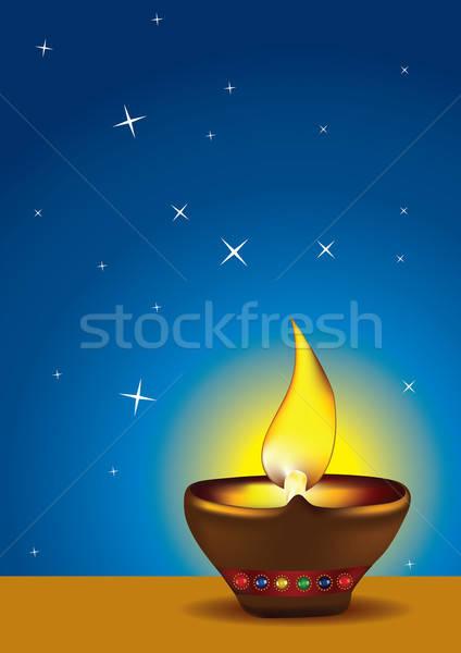 Diwali Diya with blue sky - Oil lamp vector illustration Stock photo © Akhilesh