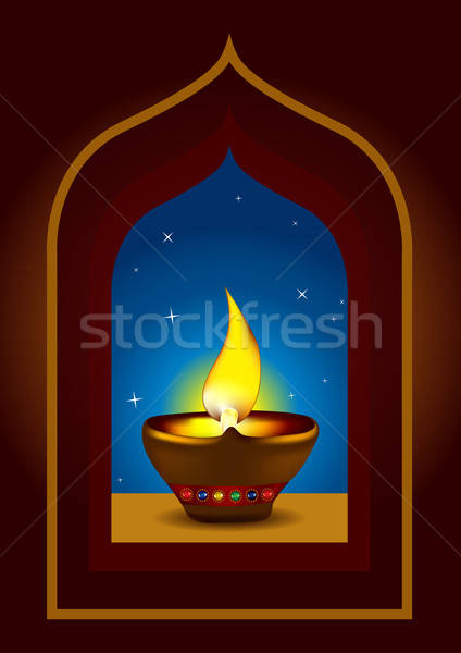 Diwali Diya on a window arch - Oil lamp vector illustration Stock photo © Akhilesh