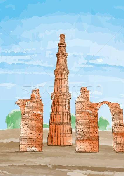 Kézzel rajzolt Új-Delhi India terv utazás festmény Stock fotó © Akhilesh