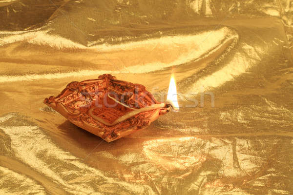 Golden Diwali Gold Farbe Flamme Stock foto © Akhilesh