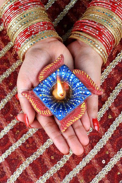 印度 節日 排燈節 燈 光 女 商業照片 © Akhilesh