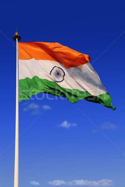 Tricolor indian banderą niebo zielone Chmura Zdjęcia stock © Akhilesh