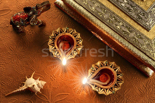 Diwali lampade indian festival luci fuoco Foto d'archivio © Akhilesh