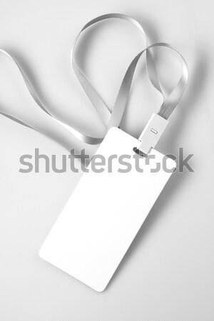 Blank White Lanyard Tag Badge Mockup Stock photo © Akhilesh