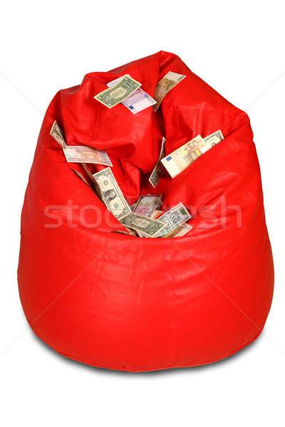 Vermelho saco de feijão moeda notas financiar Foto stock © Akhilesh