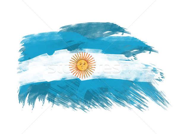 Argentína zászló ecsetvonások fehér textúra kék Stock fotó © Akhilesh